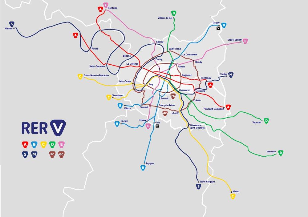 Les 9 lignes cyclables du « RER V » imaginées par le Collectif Vélo Île-de-France, dont une passe à Clamart le long de la D906.
