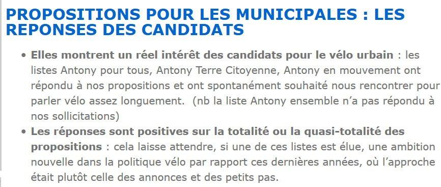 L'association vélo Antony à vélo précise que plusieurs candidats l'ont contactée spontanément pour parler du vélo.