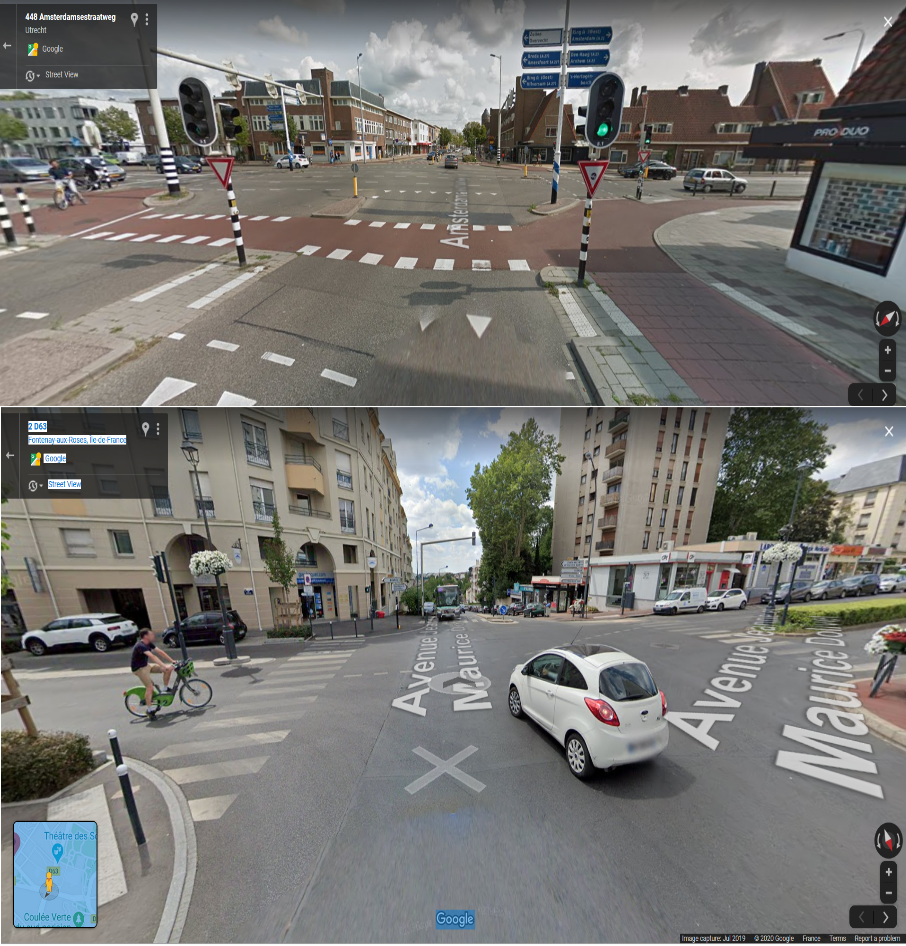 """En haut: carrefour sécurisé à Utrecht (Amsterdamsestraatweg/Marnixlaan). En bas: carrefour non sécurisé du type """"no man's land"""" sans piste cyclable et sans îlot de protection à Fontenay-aux-Roses (rue Boucicaut/av. Dolivet)."""